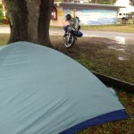 Tent in the Rain on to the Keys